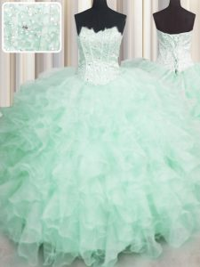 Flirting Scalloped Visible Boning Sleeveless Organza Floor Length Lace Up Quinceanera Gowns in Apple Green with Beading and Ruffles