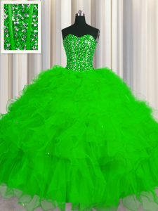 Visible Boning Beading and Ruffles and Sequins Sweet 16 Dresses Lace Up Sleeveless Floor Length