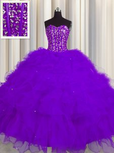 Visible Boning Floor Length Purple Quince Ball Gowns Tulle Sleeveless Beading and Ruffles and Sequins