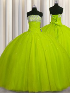 Big Puffy Floor Length Yellow Green Quinceanera Dress Strapless Sleeveless Lace Up