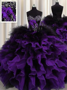 Attractive Black And Purple Lace Up Sweetheart Beading and Ruffles Quinceanera Gowns Organza and Tulle Sleeveless