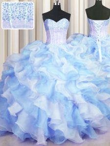 Great Two Tone Visible Boning Blue And White Lace Up Ball Gown Prom Dress Beading and Ruffles Sleeveless Floor Length