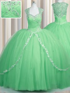Ball Gowns Cap Sleeves Apple Green Quinceanera Gowns Brush Train Zipper
