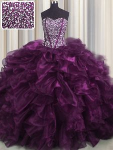 Visible Boning Dark Purple Sweetheart Lace Up Beading and Ruffles Quinceanera Gown Brush Train Sleeveless