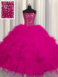 Romantic Visible Boning Floor Length Fuchsia Sweet 16 Dresses Tulle Sleeveless Beading and Ruffles and Sequins