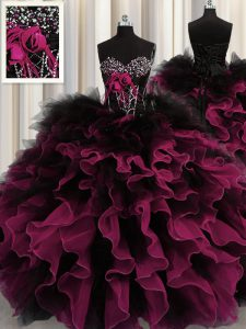 Trendy Beading and Ruffles Sweet 16 Dress Red And Black Lace Up Sleeveless Floor Length