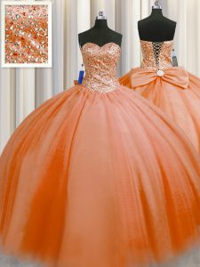 Puffy Skirt Floor Length Lace Up Sweet 16 Quinceanera Dress Orange Red for Military Ball and Sweet 16 and Quinceanera with Beading