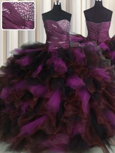 Dazzling Multi-color Organza and Tulle Lace Up Sweet 16 Quinceanera Dress Sleeveless Floor Length Beading and Ruffles and Ruffled Layers