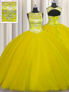 Gold Ball Gowns Scoop Sleeveless Tulle Floor Length Lace Up Beading 15th Birthday Dress