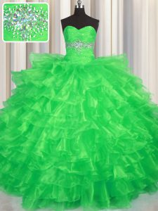 Popular Sleeveless Organza Floor Length Lace Up Sweet 16 Dress in Green with Beading and Ruffled Layers