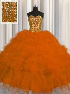 Flirting Visible Boning Rust Red Sweetheart Lace Up Beading and Ruffles and Sequins 15 Quinceanera Dress Sleeveless