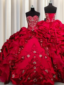 Embroidery Sequins Taffeta Sweetheart Sleeveless Lace Up Beading and Appliques and Ruffles Quinceanera Gowns in Red