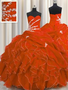 Vintage Red Ball Gowns Beading and Appliques and Ruffles Ball Gown Prom Dress Lace Up Organza Sleeveless Floor Length