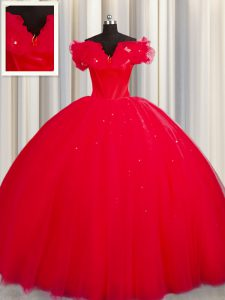 Red Tulle Lace Up Off The Shoulder Short Sleeves With Train 15 Quinceanera Dress Court Train Ruching