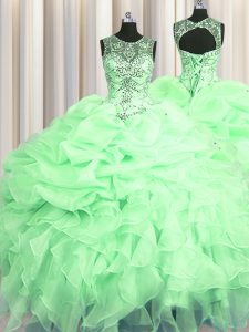 Scoop See Through Apple Green Ball Gowns Beading and Ruffles and Pick Ups Ball Gown Prom Dress Lace Up Organza Sleeveless Floor Length