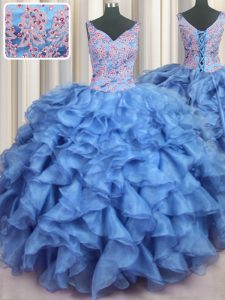 Pretty Ruffled V-neck Sleeveless Lace Up Sweet 16 Quinceanera Dress Baby Blue Organza