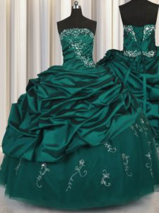 Unique Pick Ups Embroidery Floor Length Ball Gowns Sleeveless Peacock Green Sweet 16 Dresses Lace Up