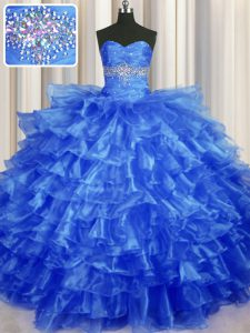 Customized Royal Blue Organza Lace Up Sweetheart Sleeveless Floor Length 15 Quinceanera Dress Beading and Ruffled Layers