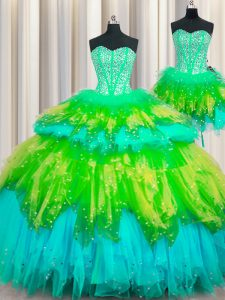 Three Piece Visible Boning Multi-color Lace Up Quinceanera Gowns Beading and Ruffles and Ruffled Layers and Sequins Sleeveless Floor Length