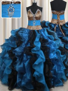 Leopard Two Tone V Neck Blue And Black Sleeveless Beading and Ruffles Floor Length Quinceanera Gowns