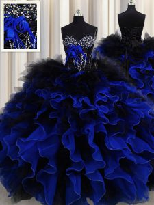 Sleeveless Floor Length Beading and Ruffles Lace Up Quince Ball Gowns with Blue And Black