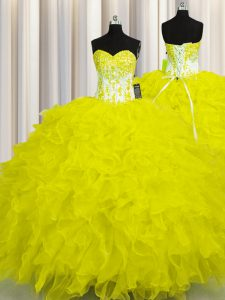 Yellow Ball Gowns Appliques and Ruffles Quinceanera Gowns Lace Up Organza Sleeveless Floor Length