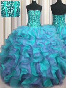 Visible Boning Beaded Bodice Multi-color Sleeveless Floor Length Beading and Ruffles Lace Up Sweet 16 Quinceanera Dress