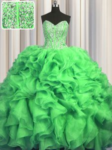 Discount Visible Boning Bling-bling Ball Gowns Organza Sweetheart Sleeveless Beading and Ruffles With Train Lace Up Quinceanera Gown Sweep Train