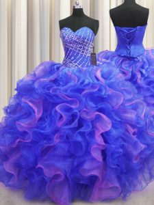 Multi-color Sweetheart Lace Up Beading and Ruffles Sweet 16 Dress Sleeveless