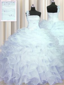 One Shoulder Sleeveless 15 Quinceanera Dress Floor Length Beading and Ruffles Light Blue Organza