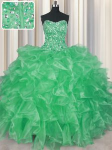Unique Visible Boning Organza Sleeveless Floor Length Quinceanera Gowns and Beading and Ruffles