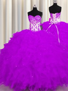 High Class Purple Organza Lace Up Sweetheart Sleeveless Floor Length Vestidos de Quinceanera Appliques and Ruffles