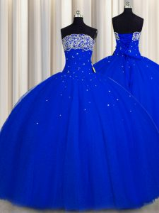 Really Puffy Strapless Sleeveless Lace Up Quinceanera Dress Royal Blue Tulle