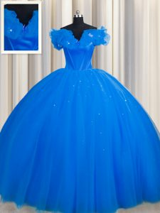 Trendy Off The Shoulder Short Sleeves Tulle Sweet 16 Dresses Ruching Court Train Lace Up