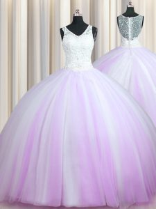 Super Zipper Up Lilac Zipper Sweet 16 Dress Beading Sleeveless With Brush Train