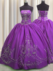 Dynamic Embroidery Eggplant Purple Sleeveless Taffeta Lace Up 15th Birthday Dress for Military Ball and Sweet 16 and Quinceanera