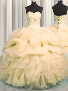 Visible Boning Sweetheart Sleeveless Organza Quinceanera Gown Beading and Ruffles and Pick Ups Lace Up