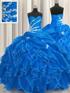 Glorious Blue Ball Gowns Sweetheart Sleeveless Organza Floor Length Lace Up Beading and Appliques and Ruffles Quinceanera Gown
