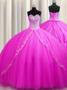 Sweep Train Sleeveless Tulle Floor Length Lace Up Ball Gown Prom Dress in Rose Pink with Beading