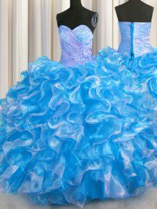Latest Blue And White Sleeveless Beading and Ruffles Floor Length Vestidos de Quinceanera