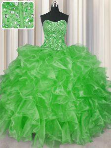 Visible Boning Organza Lace Up Quinceanera Dress Sleeveless Floor Length Beading and Ruffles