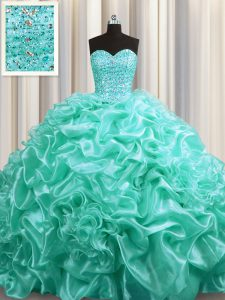 Extravagant Pick Ups With Train Aqua Blue Quinceanera Gown Sweetheart Sleeveless Court Train Lace Up