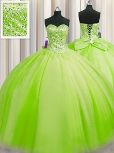 Amazing Big Puffy Ball Gowns Tulle Sweetheart Sleeveless Beading Floor Length Lace Up Sweet 16 Dress