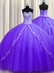 Lavender 15 Quinceanera Dress Sweetheart Sleeveless Sweep Train Lace Up