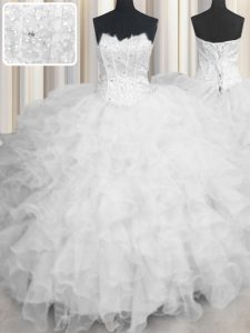Scalloped Sleeveless Floor Length Beading and Ruffles Lace Up Quinceanera Dress with White