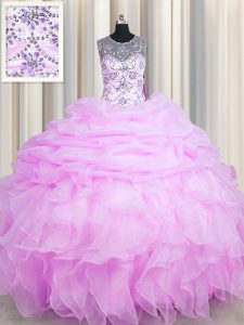 See Through Lilac Lace Up Scoop Beading and Ruffles and Pick Ups Sweet 16 Quinceanera Dress Organza Sleeveless