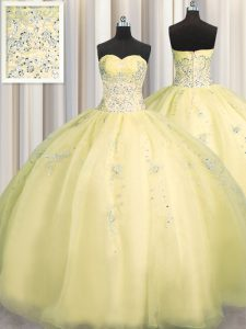 Really Puffy Organza Sleeveless Floor Length Ball Gown Prom Dress and Beading and Appliques