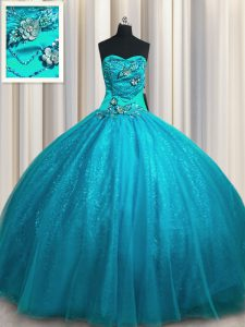 Sexy Teal Ball Gowns Beading and Appliques Quince Ball Gowns Lace Up Tulle and Sequined Sleeveless Floor Length