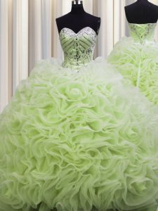 Rolling Flowers Brush Train Yellow Green Lace Up Quince Ball Gowns Beading and Pick Ups Sleeveless Floor Length