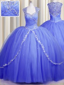 Modest Zipper Up With Train Blue Vestidos de Quinceanera Tulle Brush Train Cap Sleeves Beading and Appliques